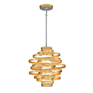 Vertigo Gold Leaf with Polished Stainless Accents 18-Inch LED Pendant