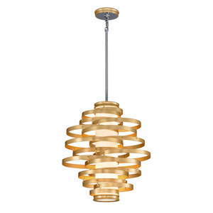 Vertigo Gold Leaf with Polished Stainless Accents 23-Inch LED Pendant