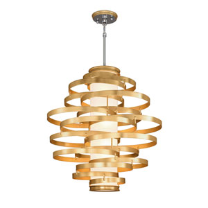 Vertigo Gold Leaf with Polished Stainless Accents 45-Inch LED Pendant