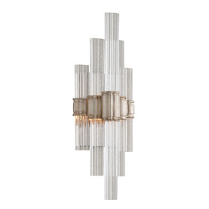 Voila Modern Silver Leaf LED One-Light Wall Sconce with Silver Glass