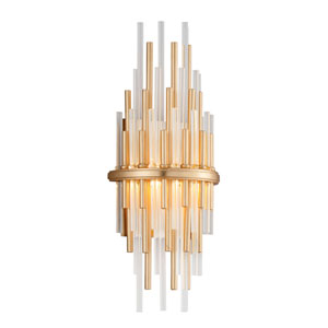 Theory Gold Leaf with Polished Stainless Accents 7-Inch LED Wall Sconce