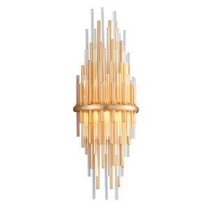 Theory Gold Leaf with Polished Stainless Accents 8-Inch LED Wall Sconce