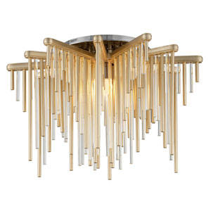 Theory Gold Leaf with Polished Stainless Accents 21-Inch LED Semi-Flush Mount