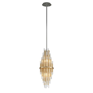 Theory Gold Leaf with Polished Stainless Accents 8-Inch LED Mini Pendant