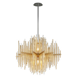 Theory Gold Leaf with Polished Stainless Accents 30-Inch LED Pendant