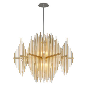 Theory Gold Leaf with Polished Stainless Accents 40-Inch LED Pendant