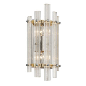 Sauterne Gold Leaf with Polished Stainless Accents 15-Inch Two-Light Wall Sconce