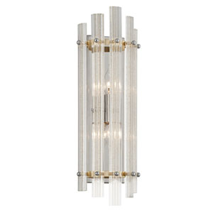 Sauterne Gold Leaf with Polished Stainless Accents 22-Inch Two-Light Wall Sconce