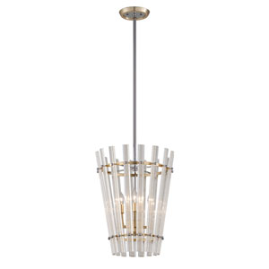 Sauterne Gold Leaf with Polished Stainless Accents 17-Inch Four-Light Pendant