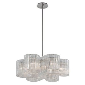 Circo Satin Silver Leaf 27-Inch Six-Light Pendant