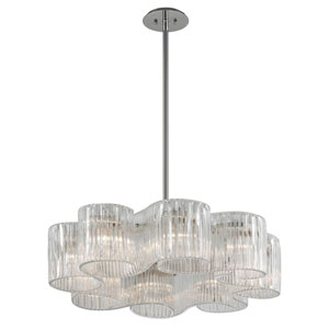 Circo Satin Silver Leaf 32-Inch Eight-Light Pendant