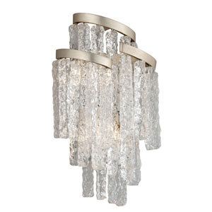 Mont Blanc Modern Silver Leaf 11-Inch Three-Light Wall Sconce