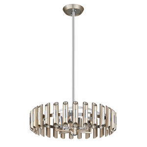 Arpeggio Antique Silver Leaf with Polished Stainless Accents 28-Inch LED Pendant