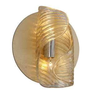 Flaunt Gold Leaf with Polished Stainless Accents 10-Inch Two-Light Wall Sconce