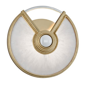Venturi Gold Leaf with Polished Stainless Accents 14-Inch LED Wall Sconce