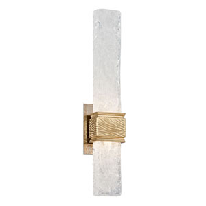Freeze Gold Leaf with Polished Stainless Accents 5-Inch LED Wall Sconce