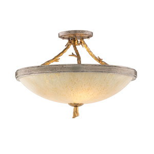 Parc Royal Gold and Silver Three-Light Semi Flush