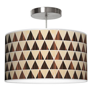 Triangle 2 Oak and Ebony 24-Inch Two-Light Drum Pendant