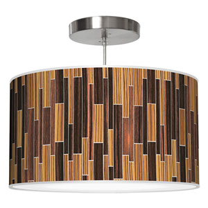 Tile 2 Zebrawood and Ebony 16-Inch One-Light Drum Pendant