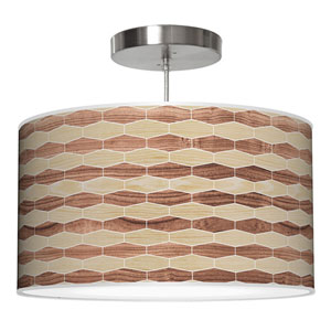 Weave 4 Oak and Walnut 16-Inch One-Light Drum Pendant