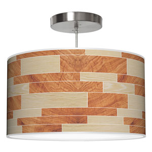 Tile 4 Oak and Mahogany 20-Inch Two-Light Drum Pendant