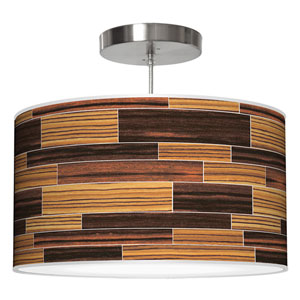 Tile 4 Zebrawood and Ebony 16-Inch One-Light Drum Pendant