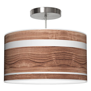 Band Walnut 20-Inch Two-Light Drum Pendant