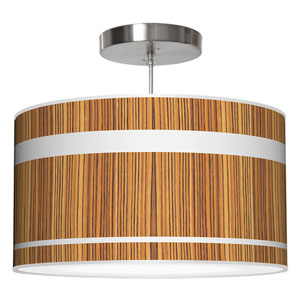 Band Zebrawood 24-Inch Two-Light Drum Pendant