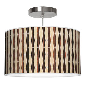 Weave 2 Oak and Ebony 24-Inch Two-Light Drum Pendant