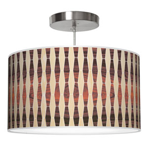 Weave 2 Oak and Rosewood 24-Inch Two-Light Drum Pendant