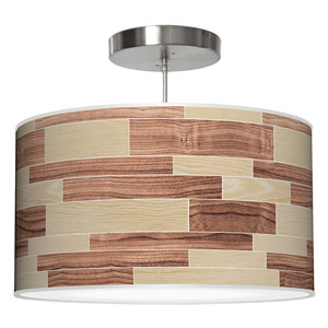 Tile 4 Oak and Walnut 16-Inch One-Light Drum Pendant