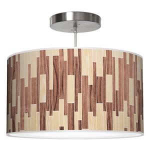 Tile 2 Oak and Walnut 16-Inch One-Light Drum Pendant