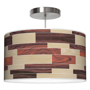 Tile 4 Oak and Rosewood 16-Inch One-Light Drum Pendant