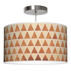 Triangle 2 Oak and Mahogany 20-Inch Two-Light Drum Pendant
