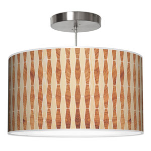 Weave 2 Oak and Mahogany 16-Inch One-Light Drum Pendant