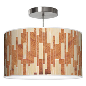 Tile 2 Oak and Mahogany 16-Inch One-Light Drum Pendant