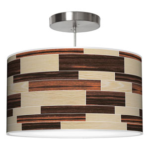 Tile 4 Oak and Ebony 16-Inch One-Light Drum Pendant
