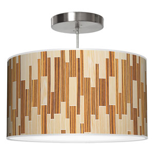Tile 2 Oak and Zebrawood 24-Inch Two-Light Drum Pendant