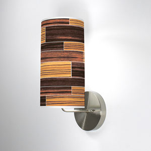 Tile 4 Zebrawood and Ebony One-Light Wall Sconce