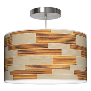 Tile 4 Oak and Zebrawood 24-Inch Two-Light Drum Pendant