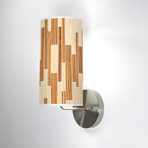 Tile 2 Oak and Zebrawood One-Light Wall Sconce