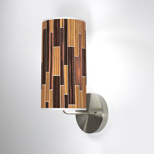 Tile 2 Zebrawood and Ebony One-Light Wall Sconce
