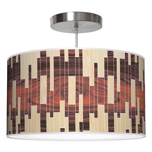 Tile 2 Oak and Rosewood 36-Inch Three-Light Drum Pendant