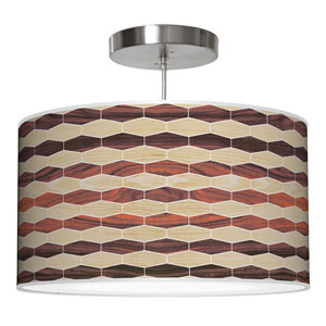 Weave 4 Oak and Rosewood 36-Inch Three-Light Drum Pendant
