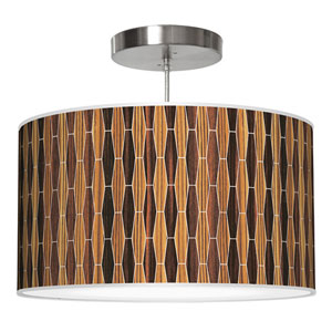Weave 2 Zebrawood and Ebony 24-Inch Two-Light Drum Pendant
