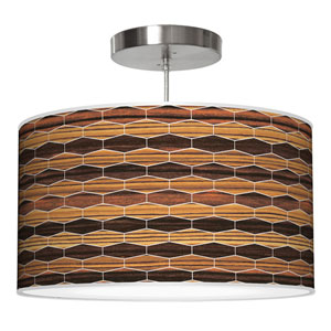 Weave 4 Zebrawood and Ebony 30-Inch Two-Light Drum Pendant