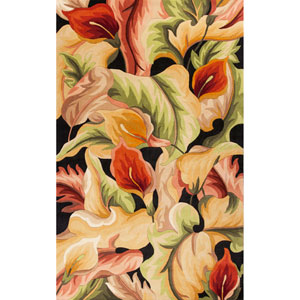 Catalina Catalina Black Calla Lillies Rectangle: 7 Ft. 9 In. x 10 Ft. 6 In. Rug