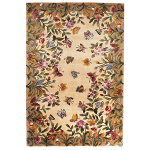 Emerald Antique Beige Butterfly Garden Rectangle: 2 Ft. x 3 Ft. Rug