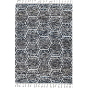 Bungalow Gray and Teal Runner: 2 Ft. 2 In. x 7 Ft. 6 In. Rug