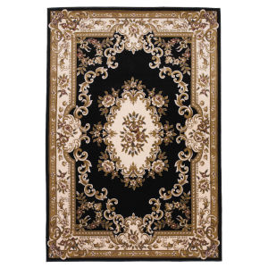 Corinthian Aubusson Black and Ivory Rectangular: 9 Ft. 10 In. x 13 Ft. 2 In. Area Rug